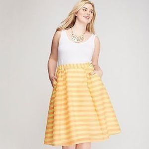 LANE BRYANT Yellow Orange Striped Circle Skirt  Mi